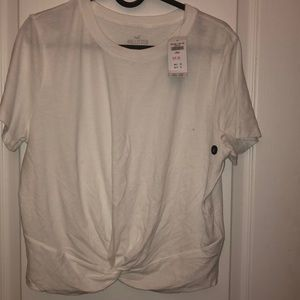 Hollister white tee with a twist in front